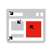 Icon depicting clickable parts of a web page