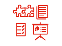 icon depicting  a problem solving task, a quiz, a reading, and a presentation