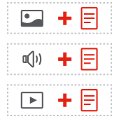 icon representing text alternatives for non text media such as images, audio, and video