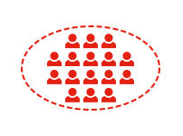 icon showing people within a dotted circle representing inclusive practice