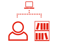 Icon representing information and services available from a library