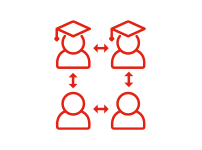 icon representing communication between peers and techers